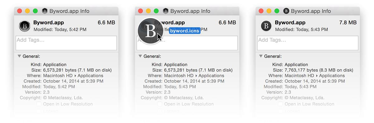 Byword icon in the dock