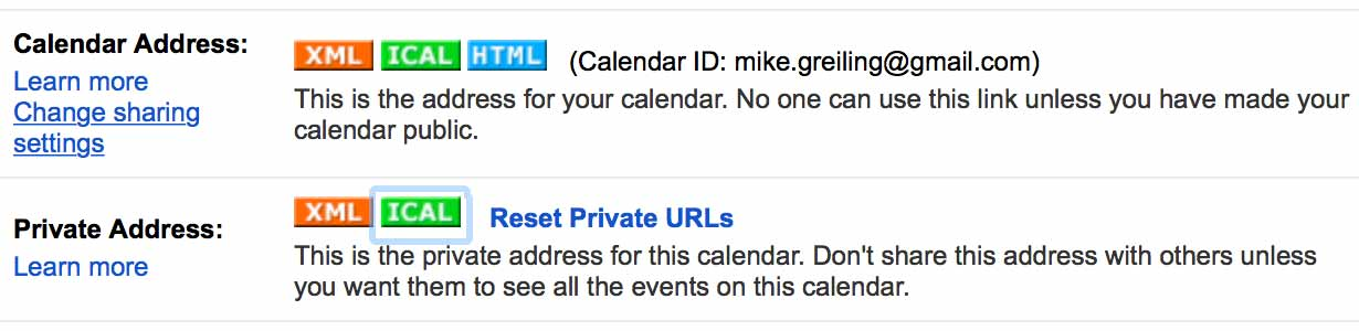 Google Private Calendar Link
